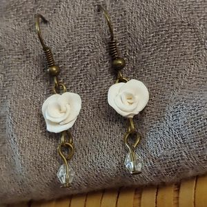Small Hand Sculpted Rose & Crystal Earrings